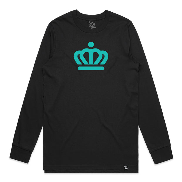 704 Shop x City of Charlotte - Official Crown Long Sleeve Tee - Black/Teal (Unisex)