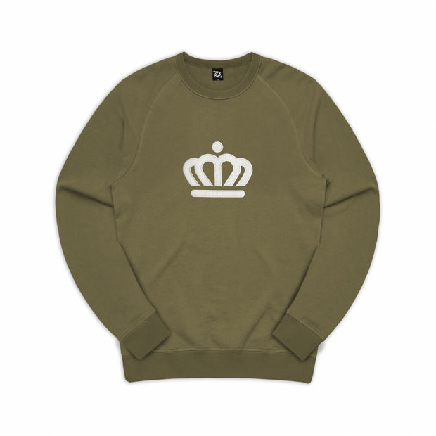 704 Shop Process™ Pigment Dyed Official Crown Crew Sweatshirt - Military Olive (Unisex)