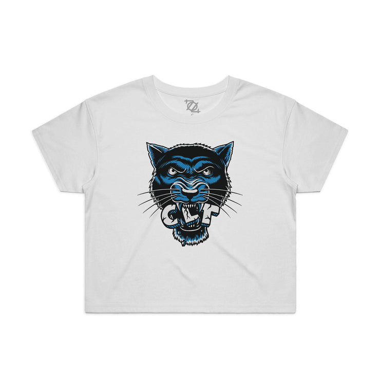 704 Shop CLT Panther Cropped Tee - White (Women's)