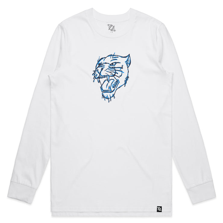 704 Shop Panther Head Longsleeve Tee - White (Unisex)