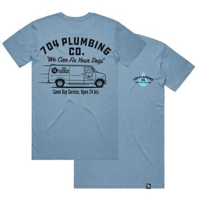 704 Shop 704 Plumbing Co Tee - Blue (Unisex)