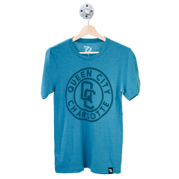 704 Shop QC Badge Tee - Teal/Teal (Unisex)