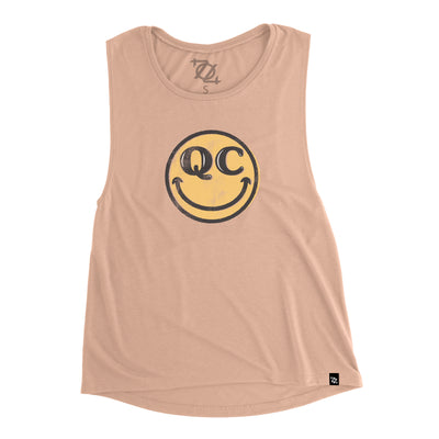 704 Shop QC Smiley Muscle Tank - Peach (Women's)
