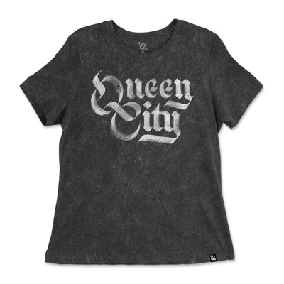 704 Shop Queen City Mineral Washed Relaxed Fit Tee - Charcoal (Women's)