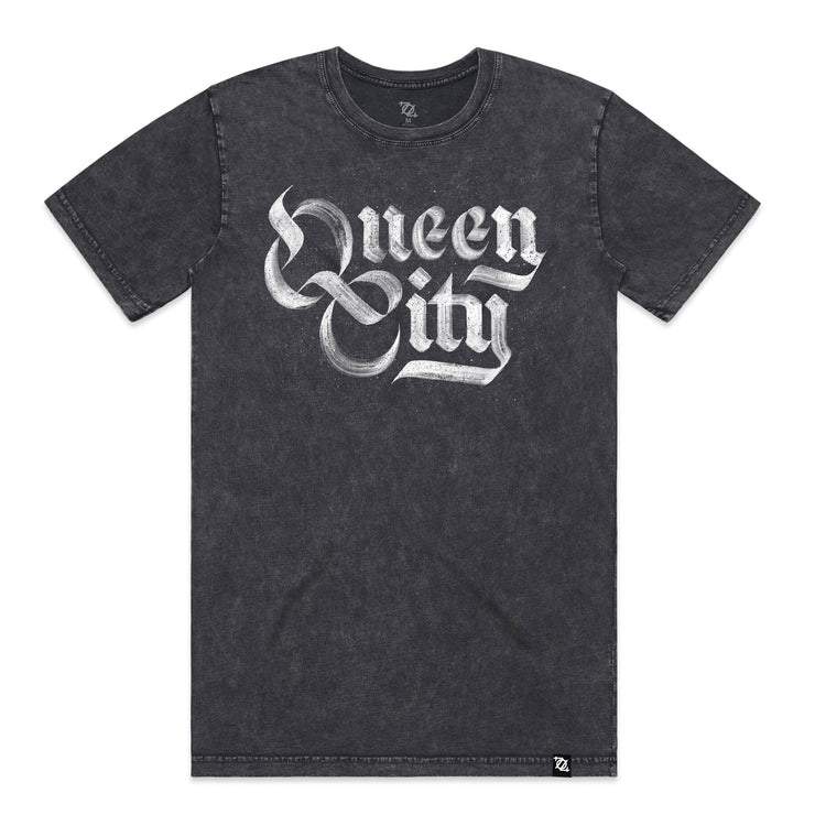 704 Shop Queen City Stonewash Tee - Charcoal (Unisex)