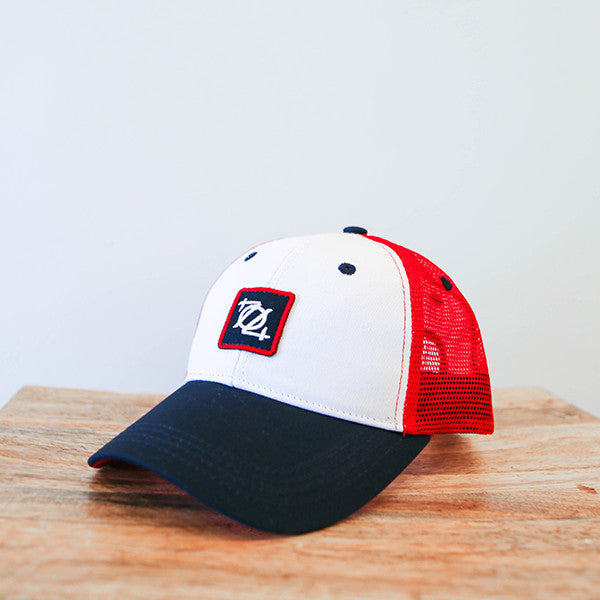 704 Shop Logo Patch Trucker Hat - Red, White, Blue