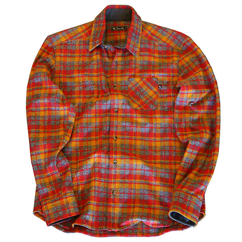 704 Shop Premium Flannel Button-Up - Red/Orange/Gray