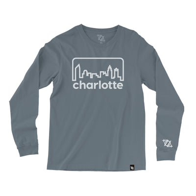 704 Shop Retro Skyline Garment Dyed Longsleeve Tee - Blue/White (Unisex)