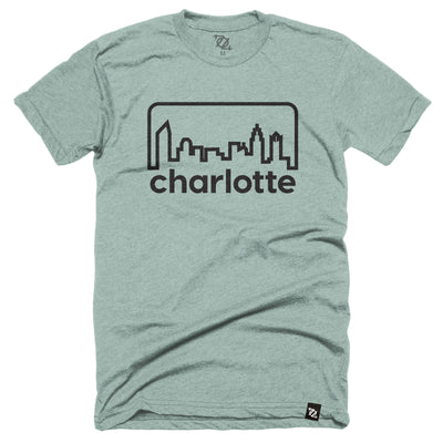 704 Shop Retro Skyline - Heather Dusty Blue/ Black (Unisex)