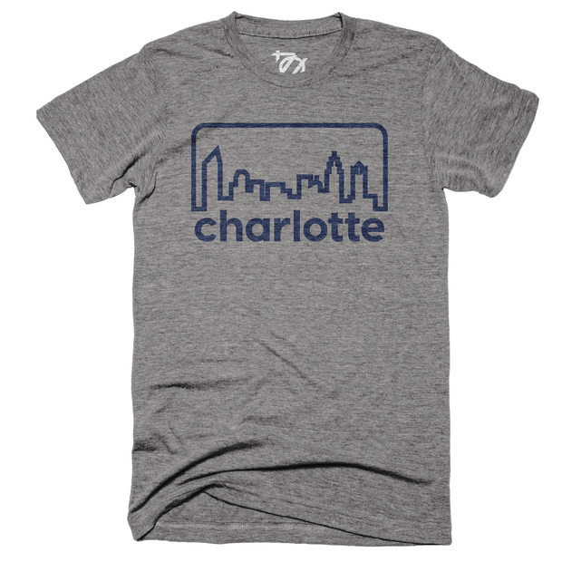 704 Shop Retro Skyline Tee - Gray/Navy (Unisex)