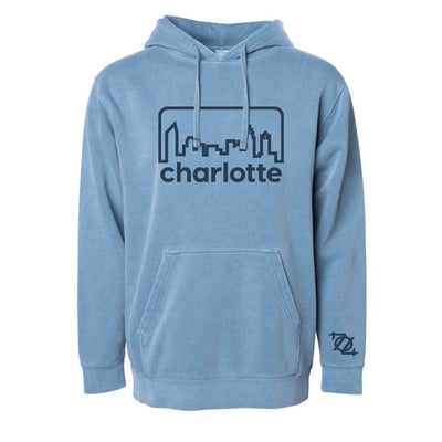 704 Shop Retro Skyline Garment Dyed Hoodie - Tonal Blue (Unisex)