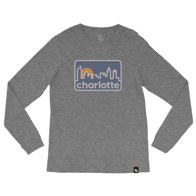704 Shop Retro Skyline Sunset Longsleeve Tee - Heather Gray (Unisex)