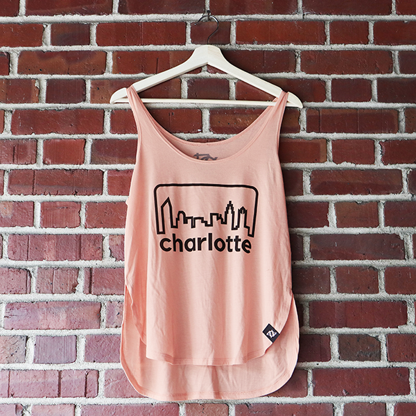 704 Shop Retro Skyline Tank - Peach/Navy (Women's)