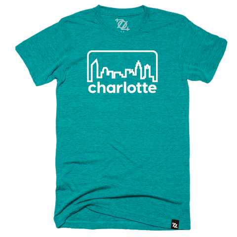 704 Shop Retro Skyline Tee - Teal/White (Unisex)