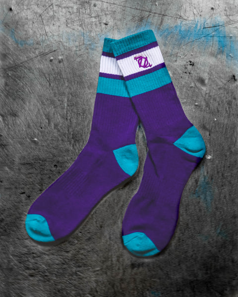 704 Shop Retro Sport Socks - Purple/Teal/White