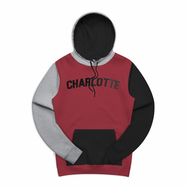704 Shop Process™ Color Blocked Charlotte Varsity Hoodie - Rumba/Heather Gray/Black (Unisex)