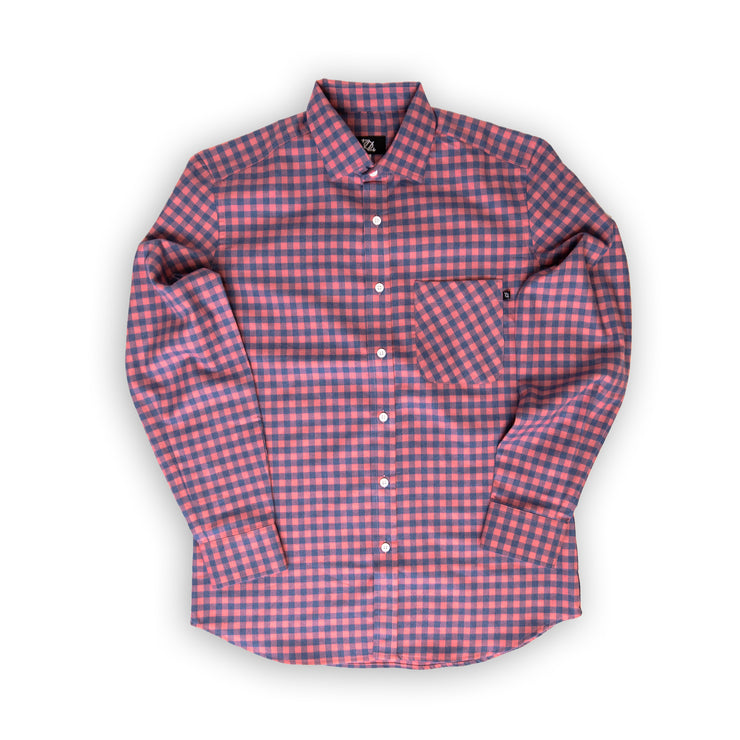 704 Shop Premium Flannel Button Up - Salmon/Blue