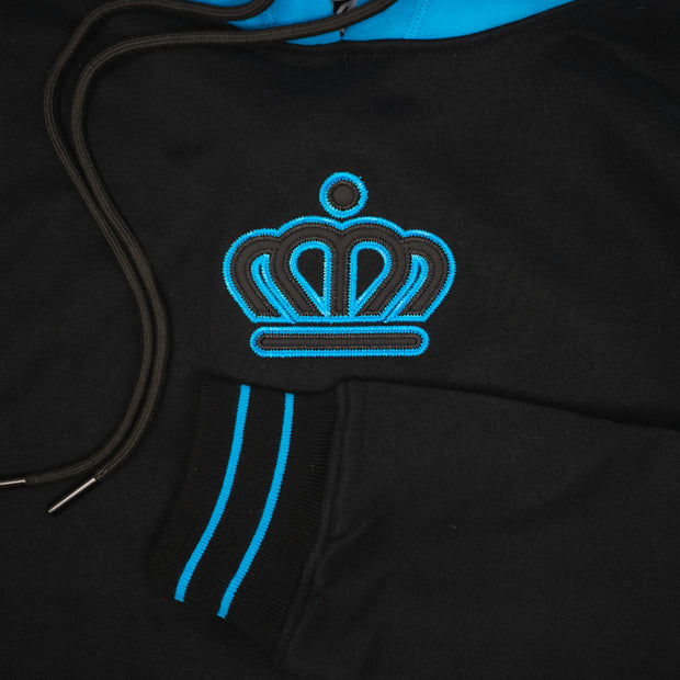704 Shop Process™ x City of Charlotte Official Crown Colorblock Hoodie - Black/Blue (Unisex)