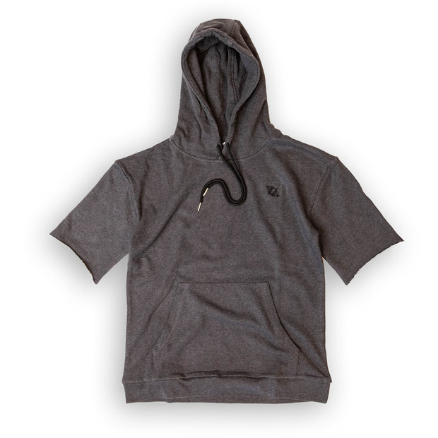 704 Shop Essential Short-Sleeve French Terry Hoodie - Charcoal