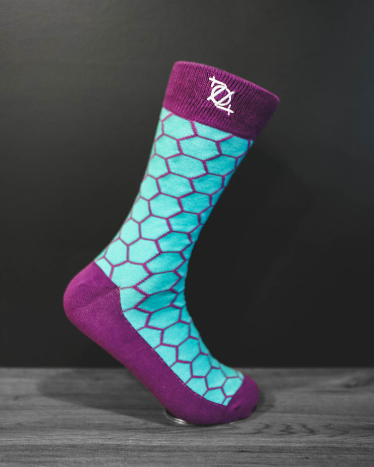 704 Shop Fashion Sock - Honeycomb (Teal/Purple)