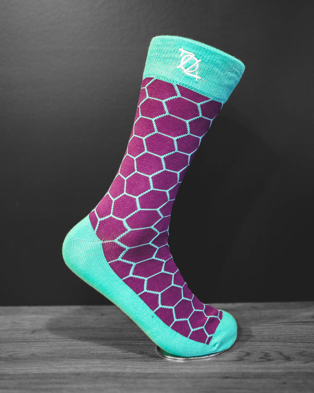 704 Shop Fashion Sock - Honeycomb (Purple/Teal)