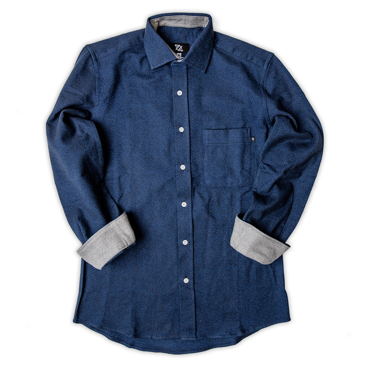 704 Shop Premium Flannel Button Down - Blue/Heather Gray