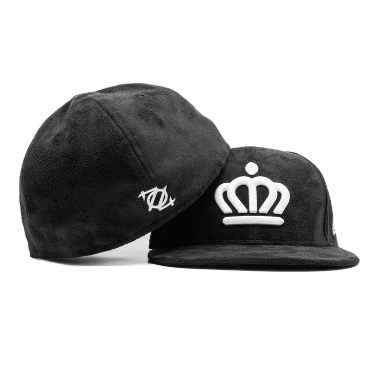 704 Shop x City of Charlotte x New Era Official Crown 5950 Fitted Cap - Black Suede/White *Limited Edition Black Friday Exclusive*