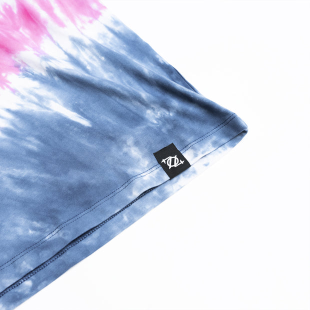 704 Shop Process™ Hand Dyed Tie Dye Logo Tee - Blue/Pink (Unisex)