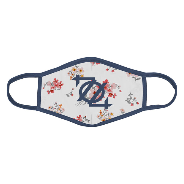 704 Shop 704 Logo Face Mask - Floral Pattern White/Blue