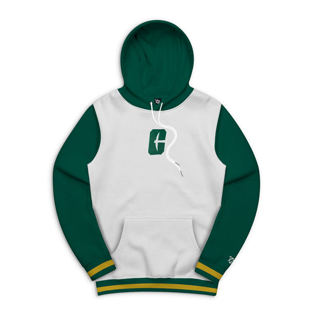 704 Shop Process™ x Charlotte 49ers Color Blocked Varsity Hoodie - White/Green (Unisex)