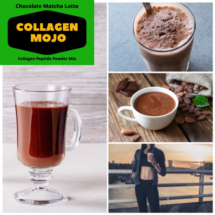 Collagen Peptides Powder with Extra Rich Organic Cacao, Organic Matcha Green Tea & Organic Coconut Milk Powder - 16 oz.