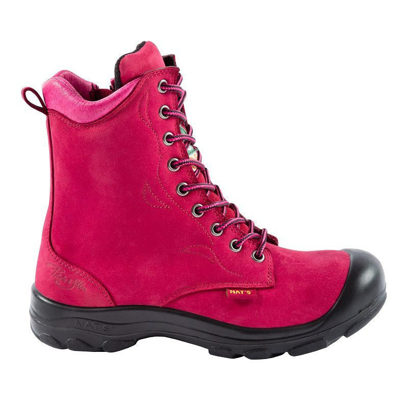 Pilote & Filles S558 RASPBERRY Safety Boots for Women with Zipper