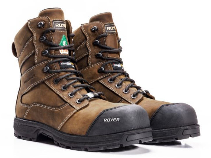 Royer 5727AG AGILITY ARTIC GRIP CSA Metal Free Safety Boots Composite Toe Plate insulated 20C Brown