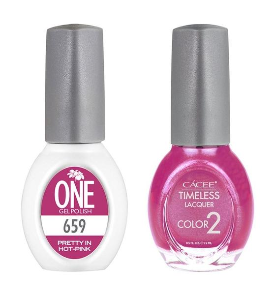 Pretty In Hot Pink Matching Color of One Gel Polish & Timeless Lacquer Duo Set