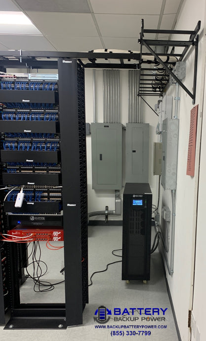 15KVA / 15KW 3 Phase Battery Backup Power, Inc. UPS Protecting Critical Server Rack
