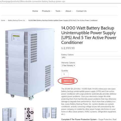 Ordering A Battery Backup Power UPS Step 1