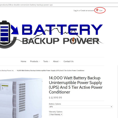 Ordering From Battery Backup Power