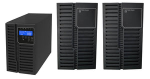 1 kVA / 900 Watt DSP Tower UPS (Uninterruptible Power Supply) And Power Conditioner For Sensitive Electronics With 2 External Battery Packs