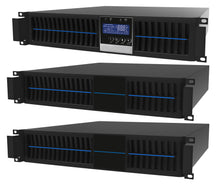 Load image into Gallery viewer, 3 kVA / 2,700 Watt Convertible Rack Mount/Tower UPS (Uninterruptible Power Supply) And Power Conditioner For Sensitive Electronics With 2 External Battery Packs