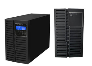 2 kVA / 1,800 Watt DSP Tower UPS (Uninterruptible Power Supply) And Power Conditioner For Sensitive Electronics With 1 External Battery Pack