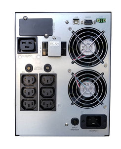 3 kVA / 2,700 Watt Digital Tower UPS (Uninterruptible Power Supply) And Power Conditioner For Sensitive Electronics (208/220/230/240 Volts) Back View
