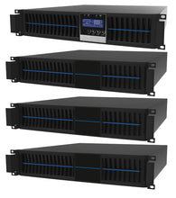 Load image into Gallery viewer, 3 kVA / 2,700 Watt Convertible Rack Mount/Tower UPS (Uninterruptible Power Supply) And Power Conditioner For Sensitive Electronics With 3 External Battery Packs