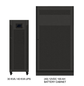 40 kVA / 40 kW Advanced Digital 3 Phase Battery Backup Uninterruptible Power Supply (UPS) And Power Conditioner With 1 External Battery Cabinet