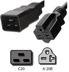 IEC C20 To 6-15/20R Plug Adapter