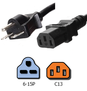 NEMA 6-15P To IEC C13 Plug Adapter