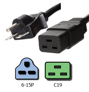 NEMA 6-15P To IEC C19 Plug Adapter