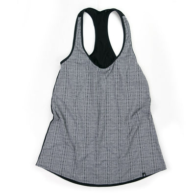 Grey Check Razor Tank Run Top