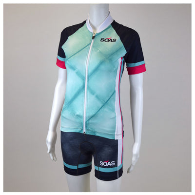 Female Cycling Jersey Byron Bay Blue Front Mannequin