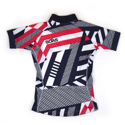 Female Cycling Jersey Red Geo Back