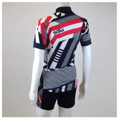 Female Cycling Jersey Red Geo Back Mannequin